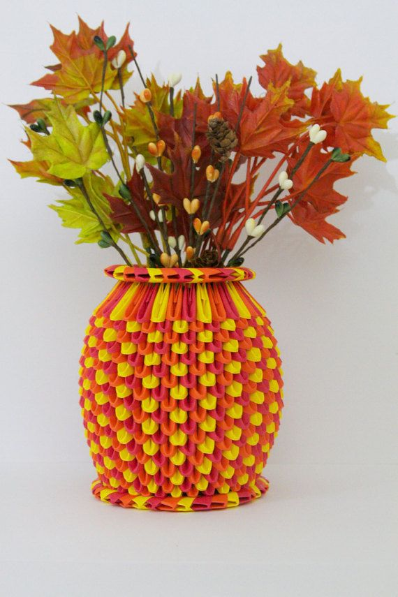 Autumn 3d origami vase home accents workplace accessories autumn 3d origami vase by liltokicrafts on etsy mightylinksfo