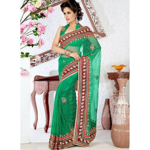 Mind-blowing Green Net  Saree