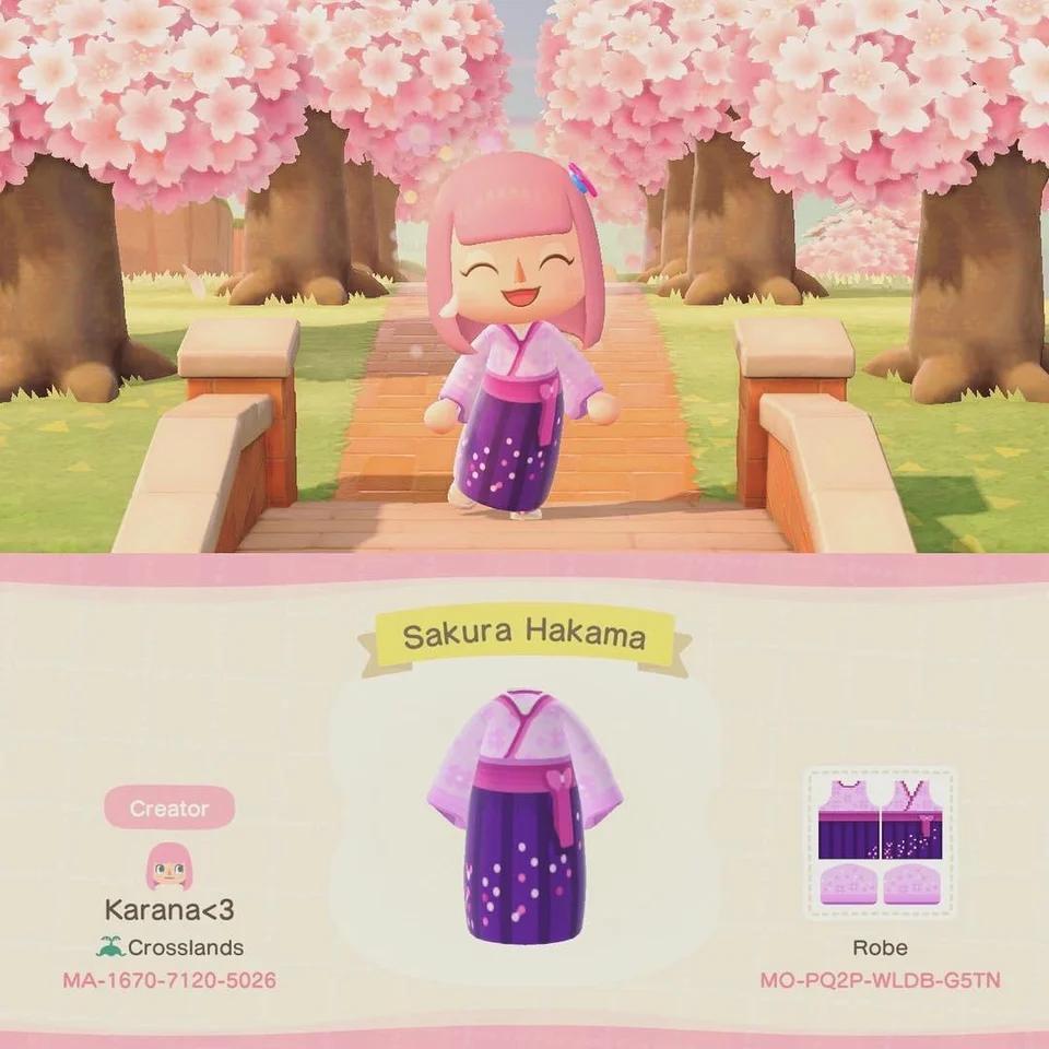 Sakura Season Might Be Over But We Can Still Wear Sakura Hakama Acqr Animal Crossing Animal Crossing Qr Qr Codes Animal Crossing
