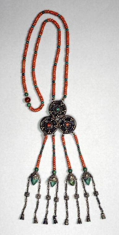 Mongolia   Necklace; silver coral and turquoise   ca. 1900 - 1950.  Ordos   ©Asian Art Museum, San Francisco