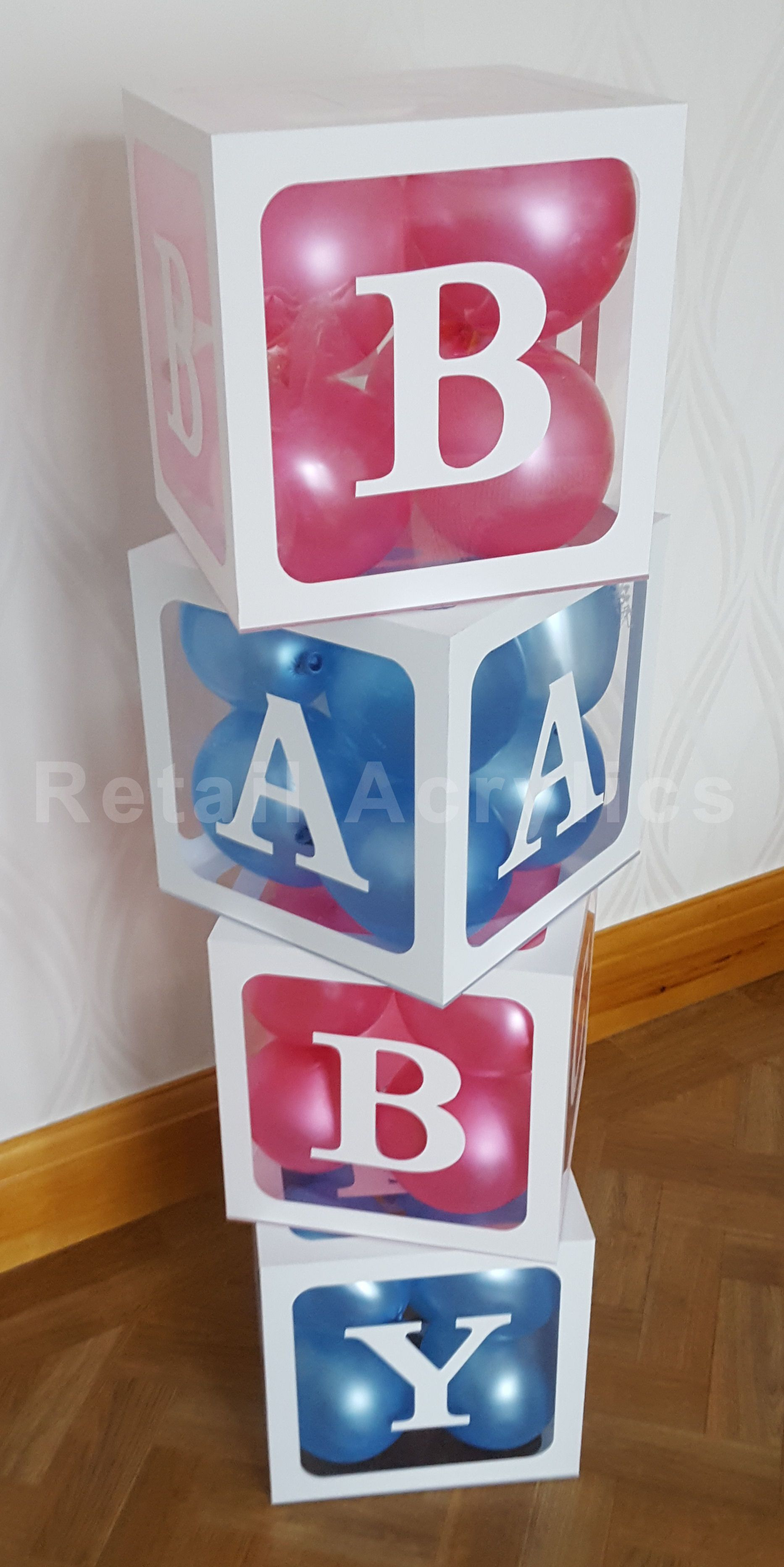 Baby Blocks Acrylic Boxes Baby Shower Party Ides Photo Props