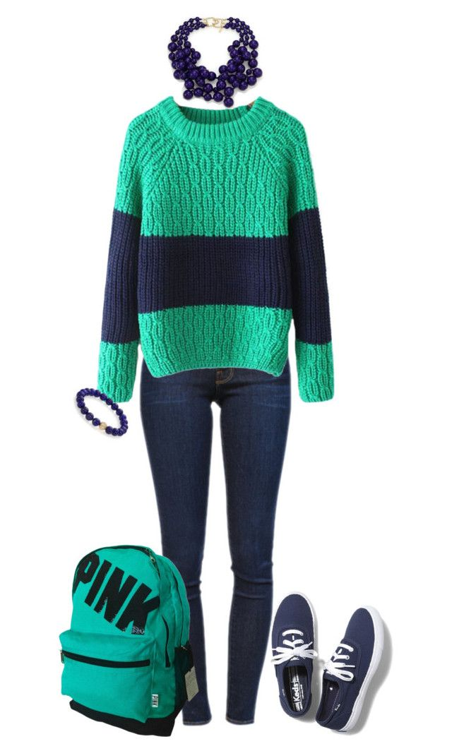 """""""Navy and Teal"""" by the-midnight-garden ❤ liked on Polyvore featuring moda, Frame Denim, Chicnova Fashion, Kenneth Jay Lane, Sydney Evan y Keds"""