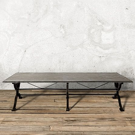 "Buchon 54"" Rectangle Iron Coffee Table with Bluestone Top"