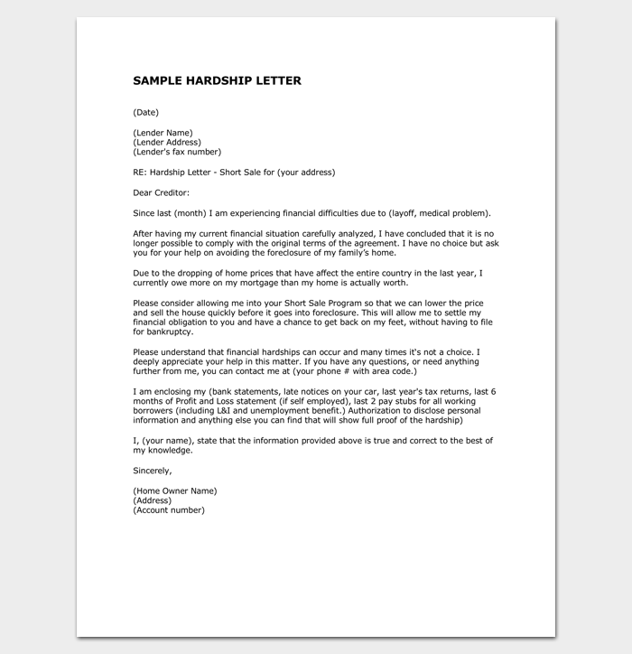 Hardship letter to creditors sample example format letter hardship letter to creditors sample example format spiritdancerdesigns Images
