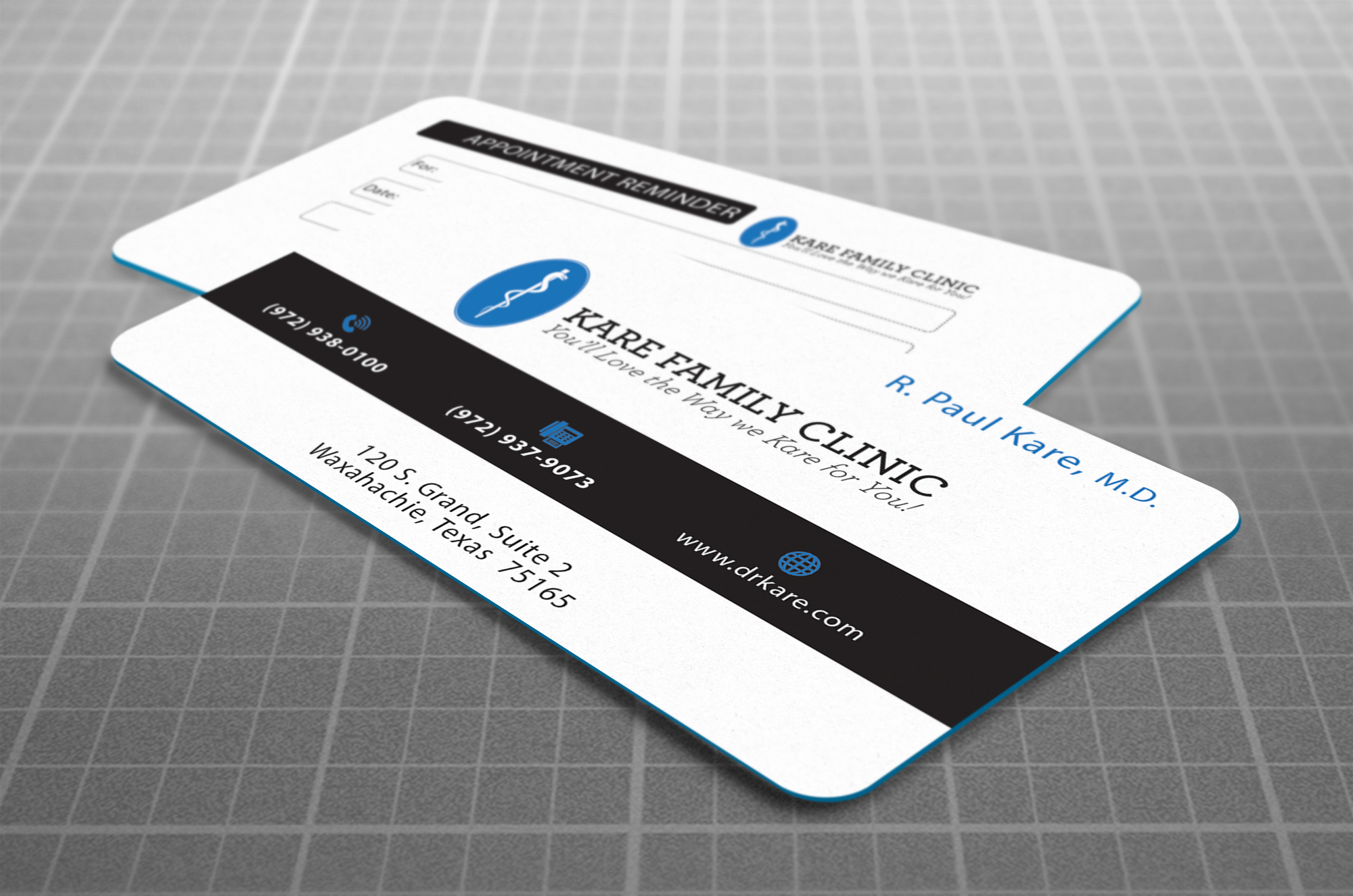 New Business Cards for Kare Family Clinic, designed by Sagentic Web Design - http://www.sagentic.com - Dr. Kare is a family doctor in Waxahachie, Texas