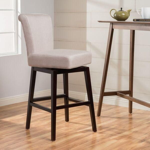 Tristan 28 Inch Fabric Swivel High Back Counter Stool With Images
