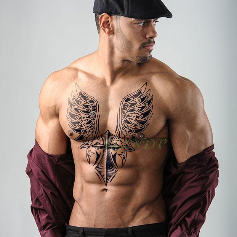 Waterproof Temporary Tattoo Sticker Cross Wing Angel Whole Back Tattoo Large Tatto Flash Tatoo Fake Back Tattoos For Guys Gold Temporary Tattoo Tattoo Stickers