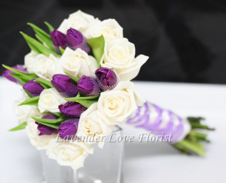Real Touch Latex purple white tulip wedding bouquet posy ...