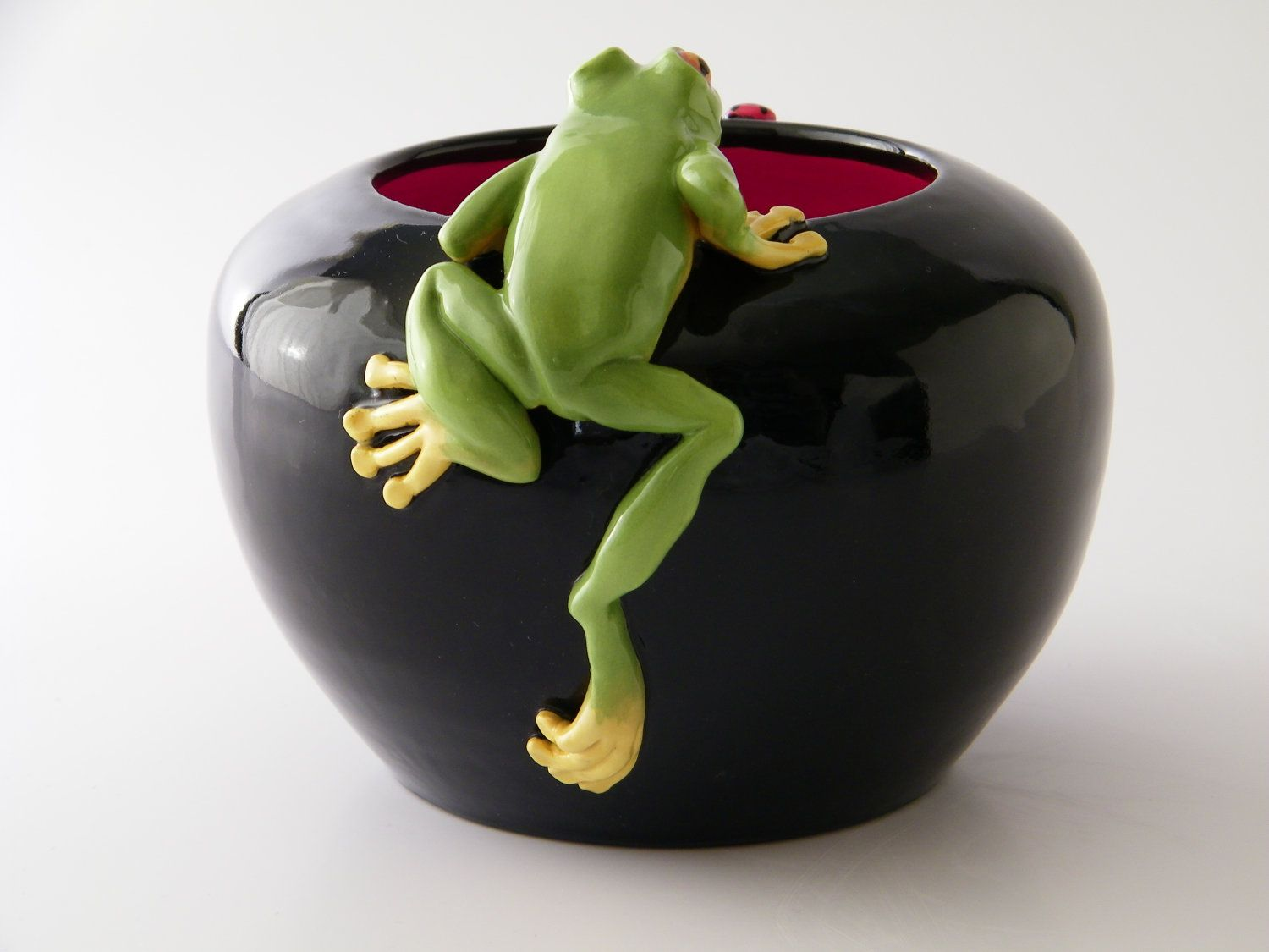 Frog Ladybugs Pot/Vessel. Wheel formed with hand sculpted critters.. $115.00, via Etsy.
