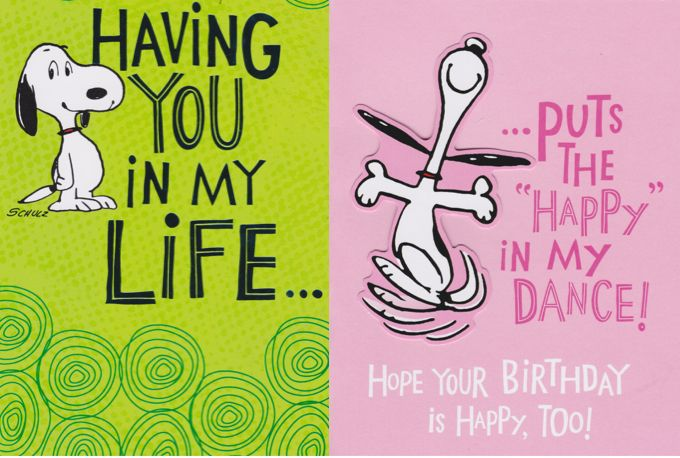 Snoopy Happy Dance Birthday Card Peanuts Birthday Pinterest