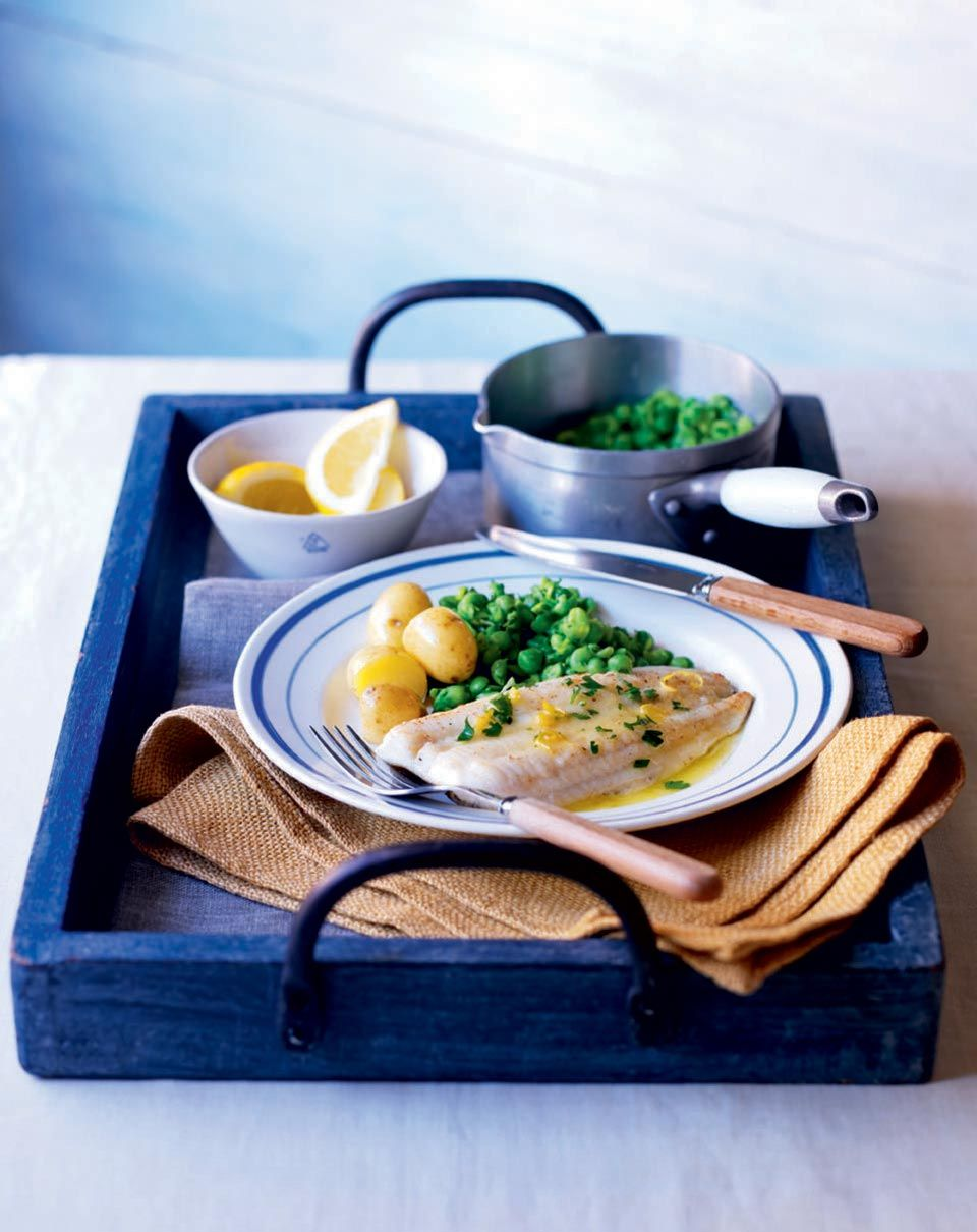 Sole is often an underused fish but this healthier take on fish, chips and peas is a delight worth tasting.