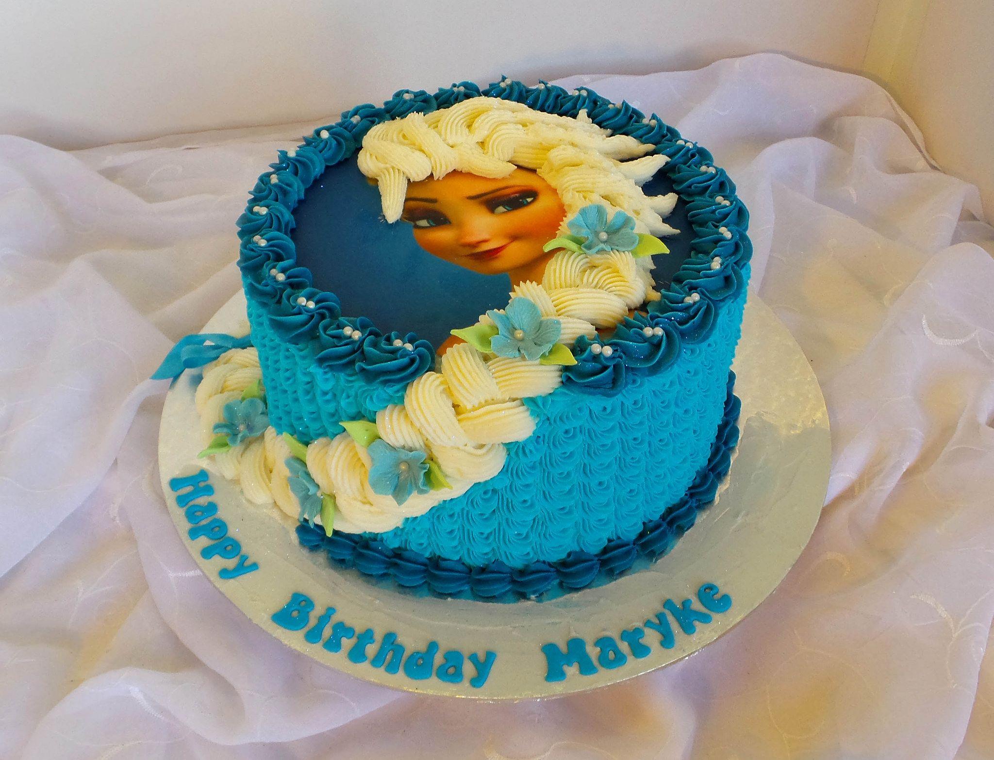 Frozen Elsa birthday cake with edible print Elsa birthday cake