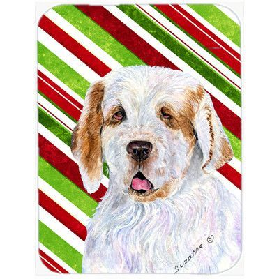 Caroline's Treasures Clumber Spaniel Candy Cane Holiday Christmas Glass Cutting Board