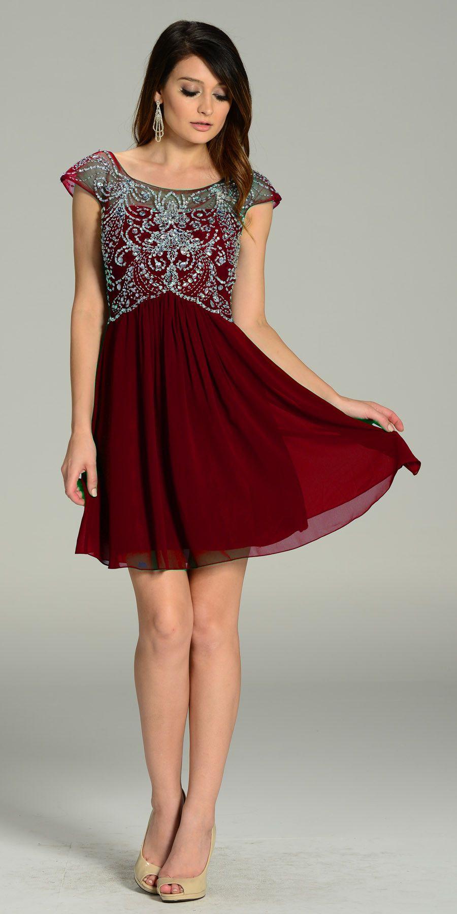 Short Chiffon/Mesh Cap Sleeve Dress Blush Empire Waist