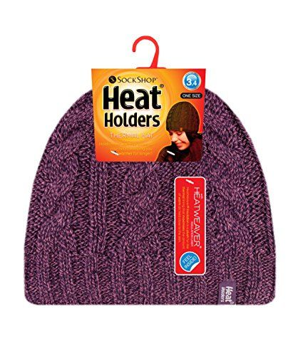 f808a1c9765 Heat Holders - Women s Thermal Fleece Cable Knit Winter Hat 3.4 Tog - One  Size (Purple)    Find out
