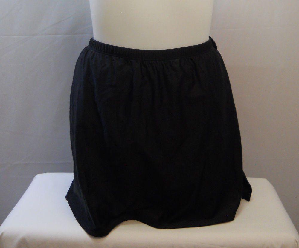 f286f9898aa PLUS SIZE 32 Women Swim Skirt SHORE CLUB Solid Black Attached Brief Elastic  Wais  SHORECLUB