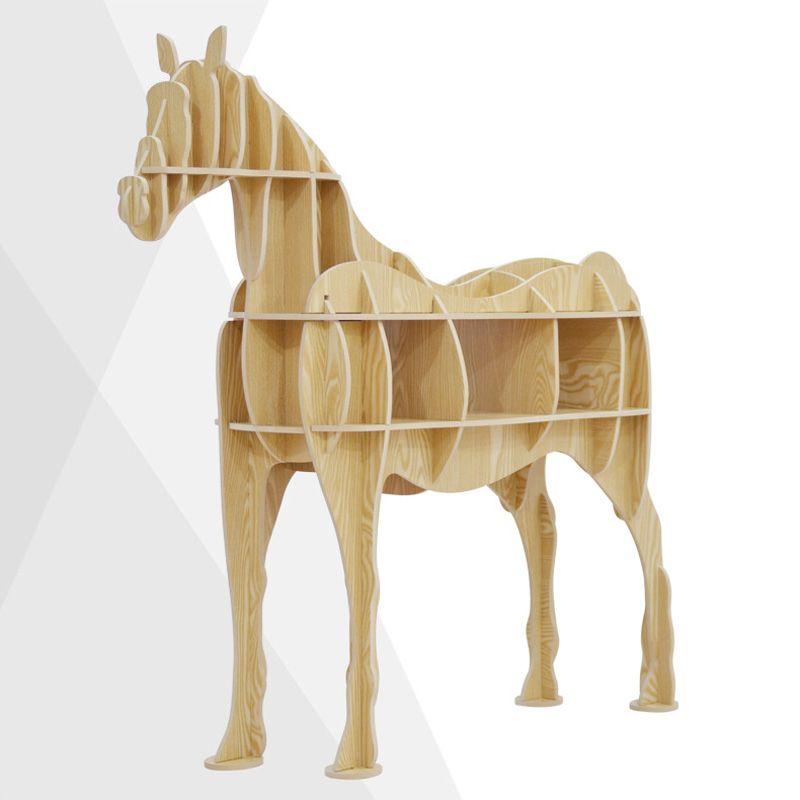Pferd Display Bücherregal Holz Möbel Home Storage Stehen Holz - bar fürs wohnzimmer