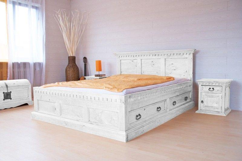 Bett Hacienda weiß - Pinie #massiv - gebeizt & gewachst ...