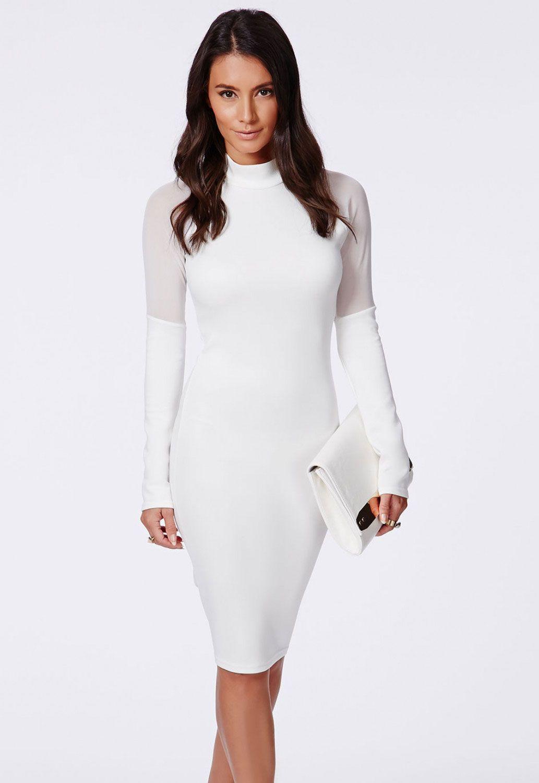 White high neck midi dress with mesh fashion pinterest sleeved