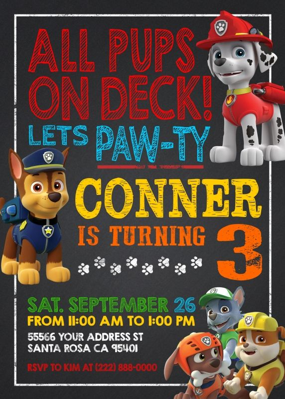 Paw Patrol Chalkboard Style Invitation  Bday    Paw