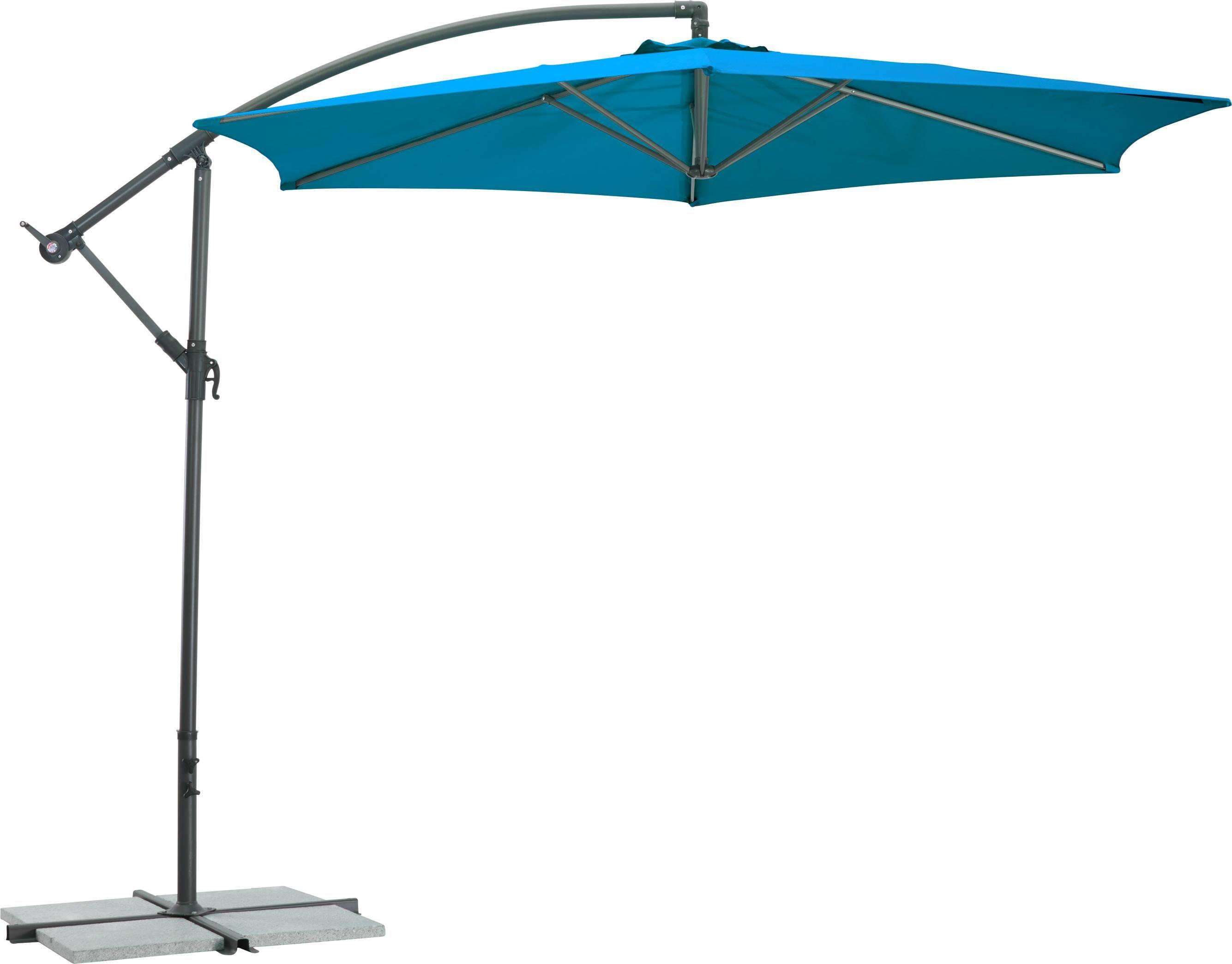 Blauer Ampelschirm Sonnenschirm für schattige Stunden Gartenmöbel