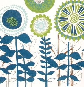 Image of Scandinavian Solros Fabric - Big Flowers - Blue