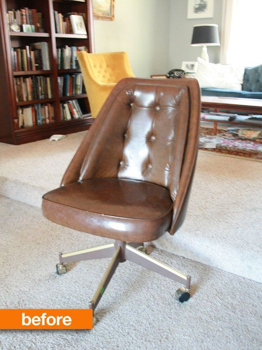 Before After This Muted Chair Gets A Kick Of Color In An Unusual Way Vinyl Chairs Makeover Vinyl Chairs Furniture