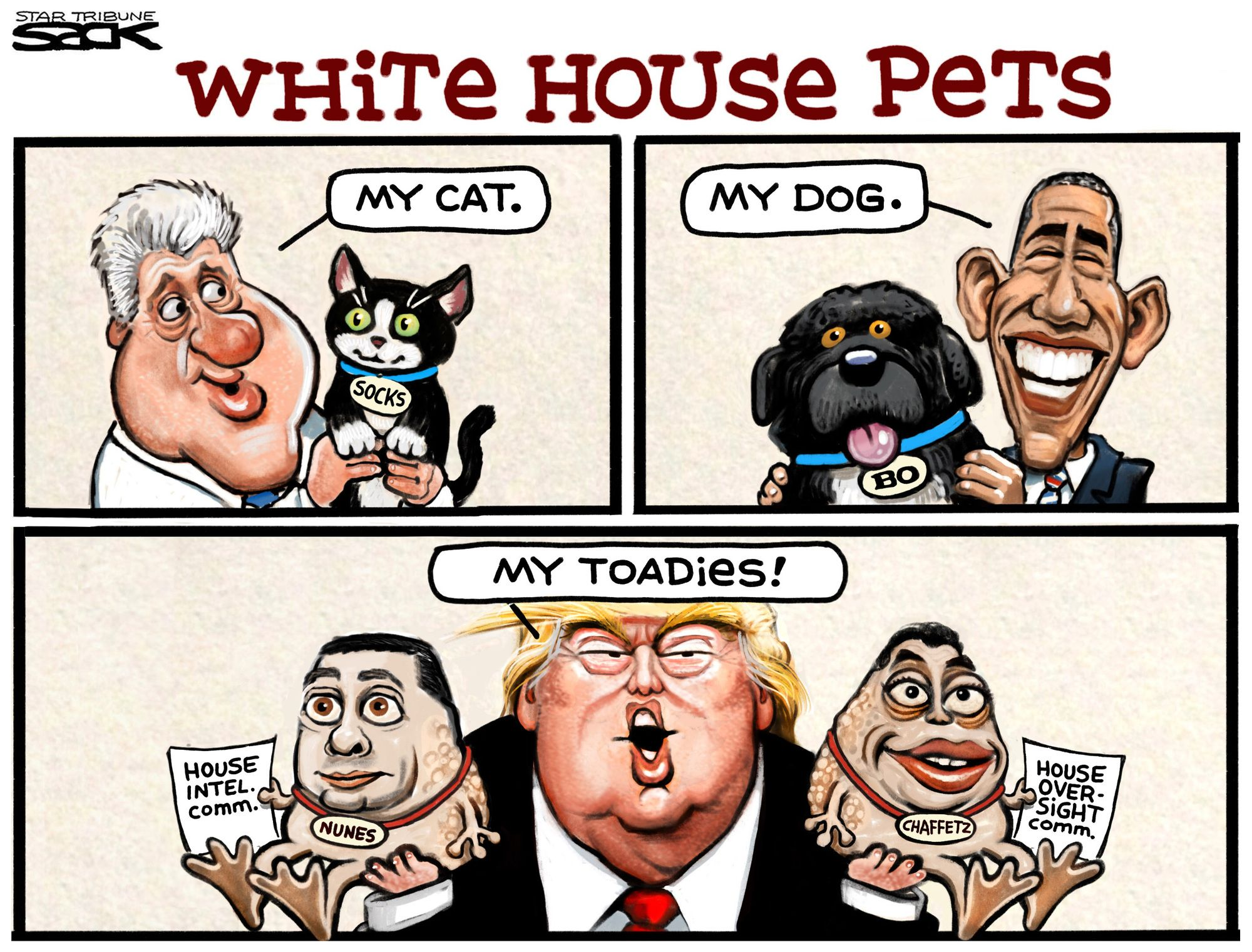 Sack cartoon White House pets Editorial cartoon