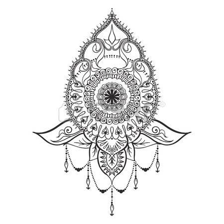 lotus flower tattoo designs template for tattoo design with mehndi elements and mandala on the. Black Bedroom Furniture Sets. Home Design Ideas