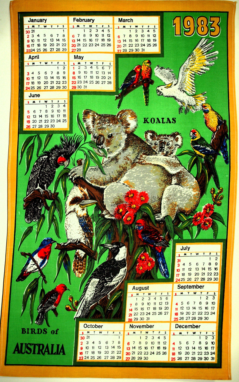 Birds Of Australia 1983 Calendar Tea Towel Retro Vintage Cotton