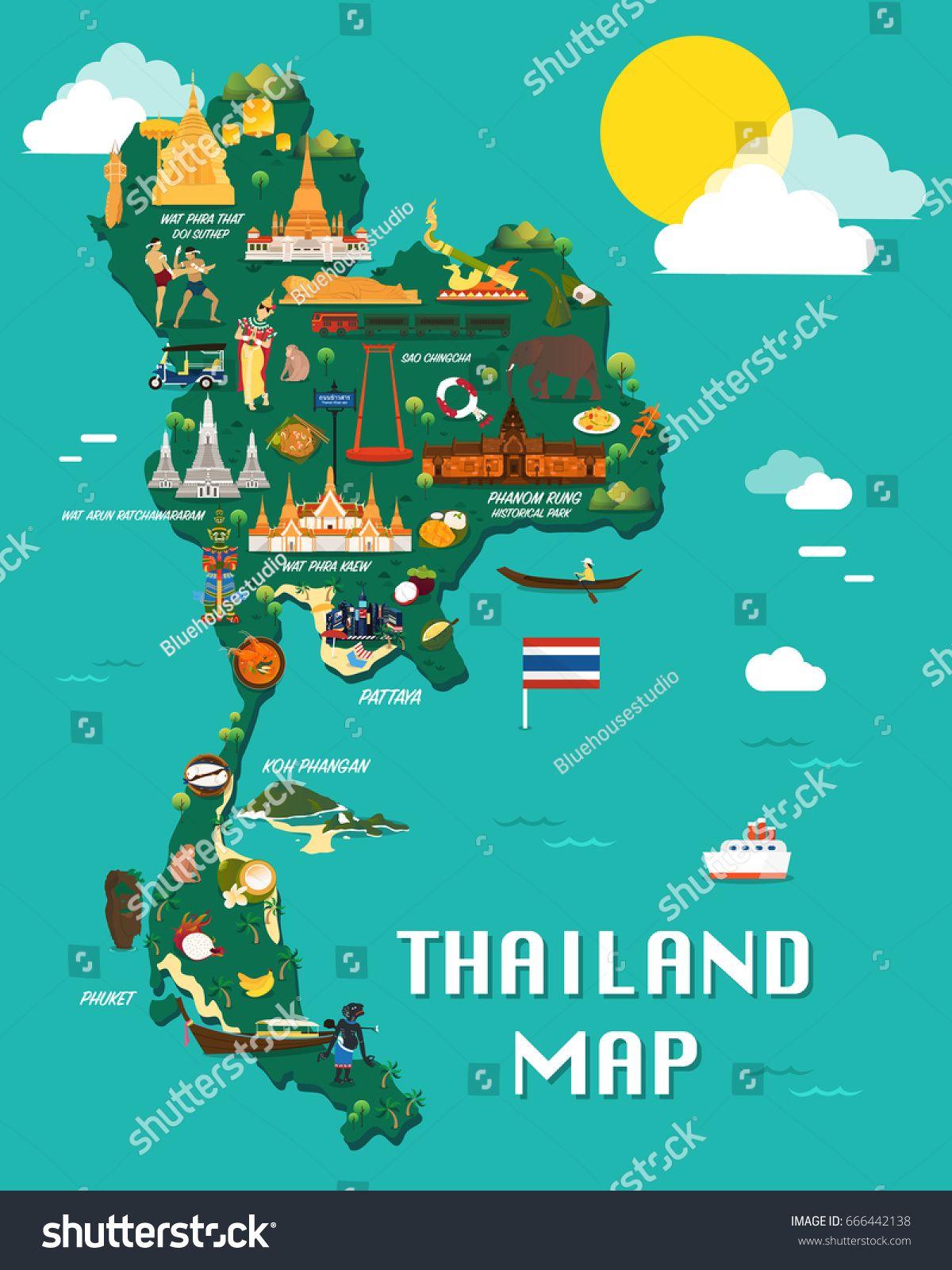 Thailand map with colorful landmarks illustration design ...