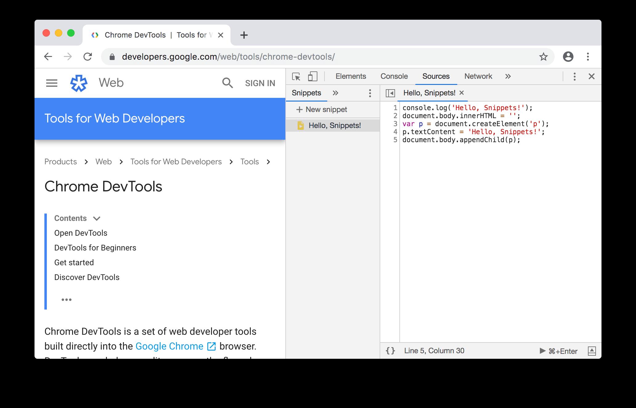 Chrome Developer Tools Execute Javascript in 2020