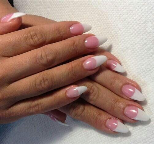 Pink White Almond Shape Acrylic Nail Shapes Almond Shape Nails Nail Designs