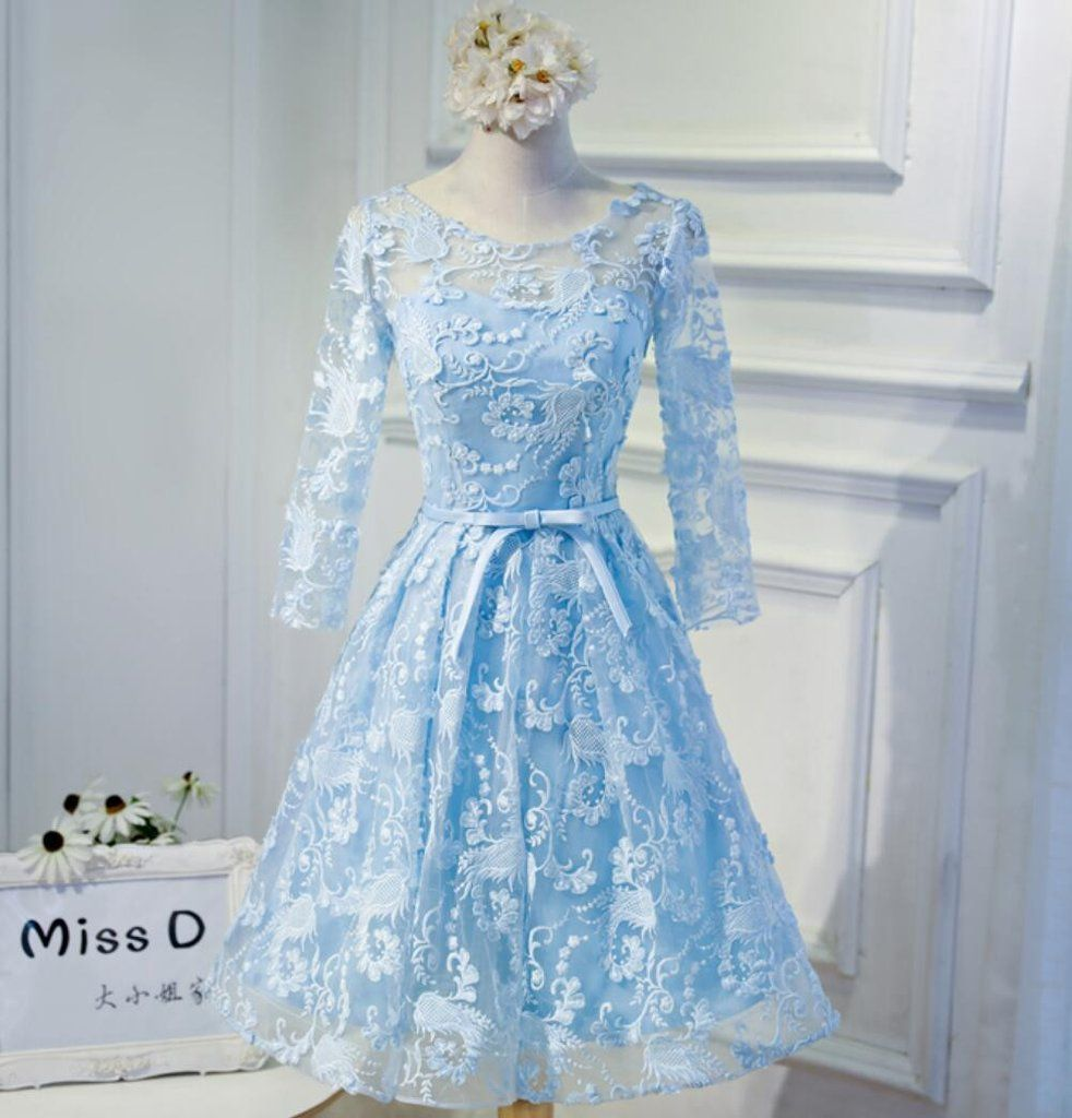 Long sleeve blue open back lace cute homecoming prom dresses