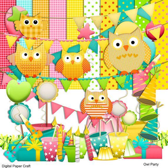 Owl Scrapbook Kit, Owl Party Clipart, Celebrations ...