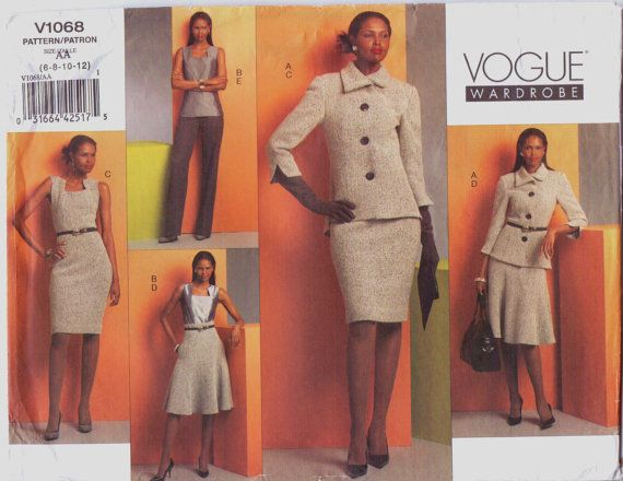 Vogue Wardrobe Pattern V1068 Womens Jacket Top by CloesCloset, $14.00