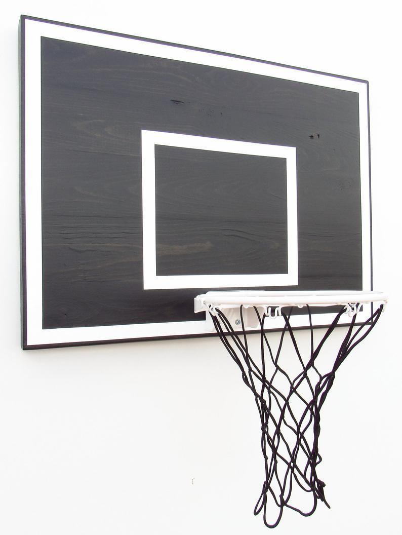 Black Wood Indoor Basketball Hoop With White Rim Etsy In 2020 Indoor Basketball Hoop White Rims Indoor Basketball