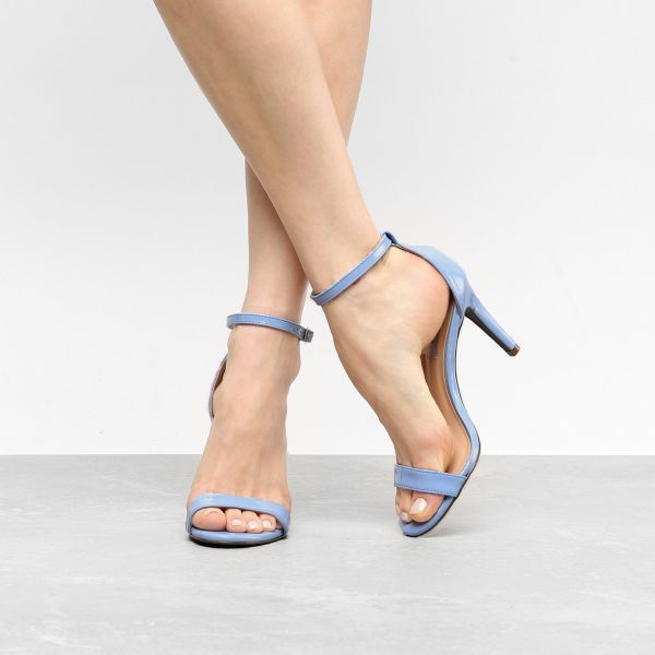 0be625945 Sandalia Jorge Alex Salto Fino Basica Feminina - Azul - A elegancia  minimalista da Sandalia Jorge