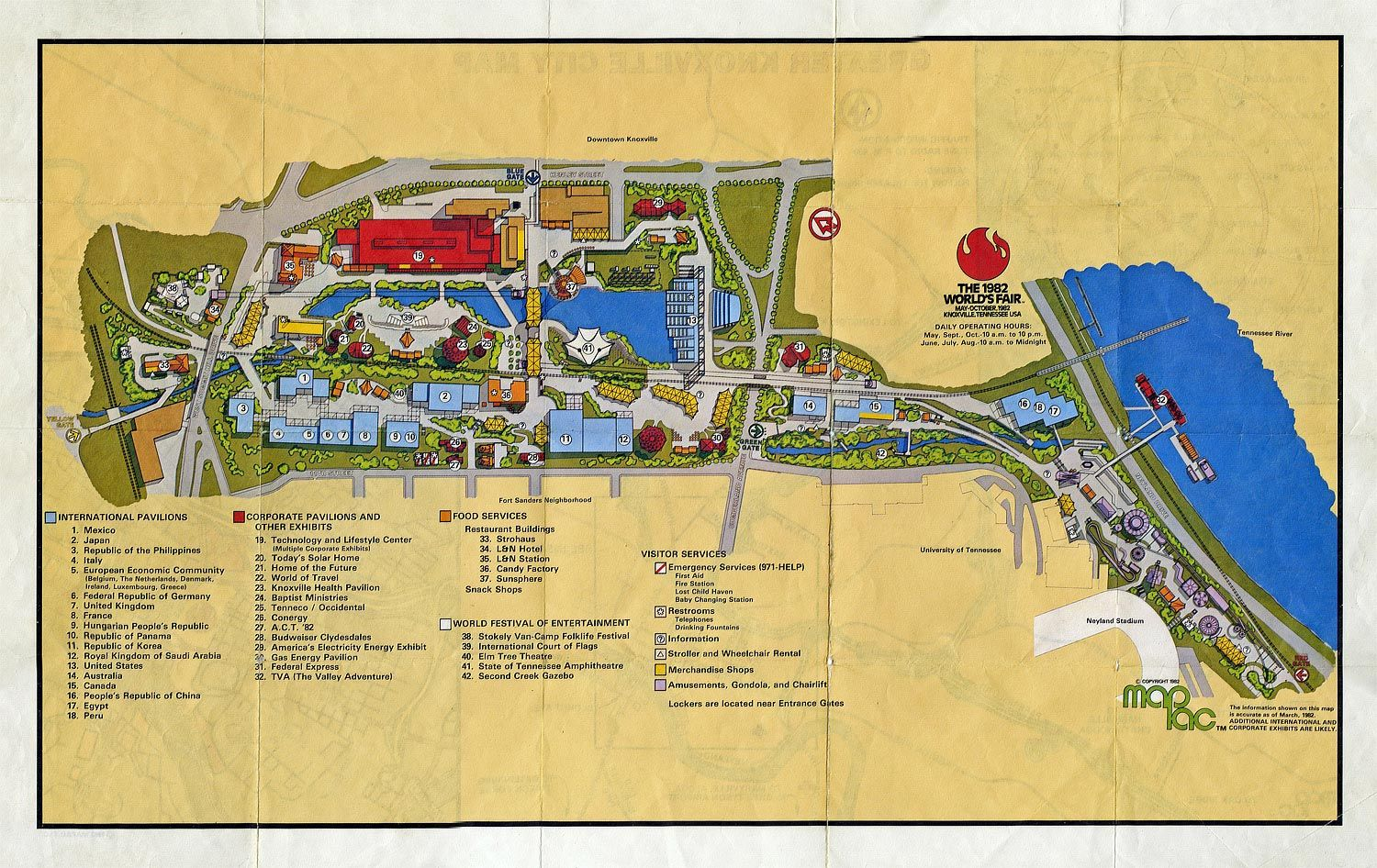 map of the 1982 worlds fair grounds at knoxville tn i went to this