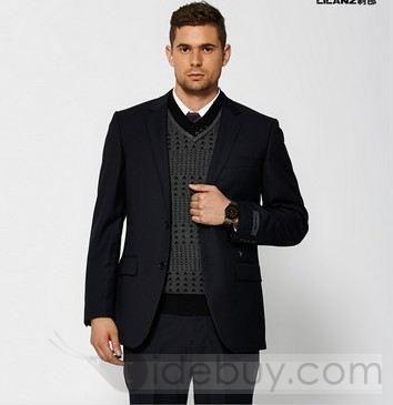 Plain Portly Fit Suit 2 Button (Two Piece Set) : Tidebuy.com