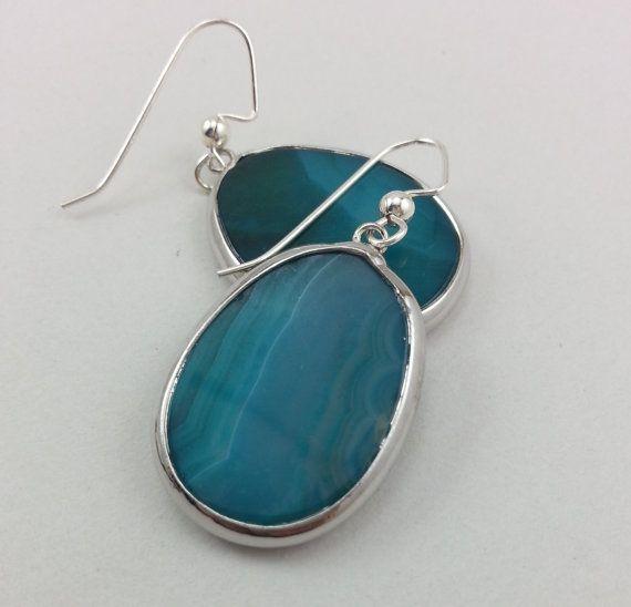 Semi Precious Agate Stone Earrings Teal Agate by LeafRiverJewelry, $18.00
