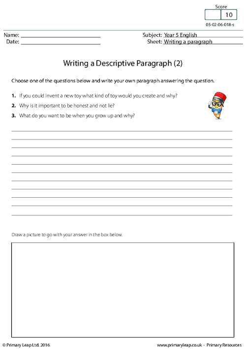 PrimaryLeap.co.uk - Writing a Descriptive Paragraph (2) Worksheet ...