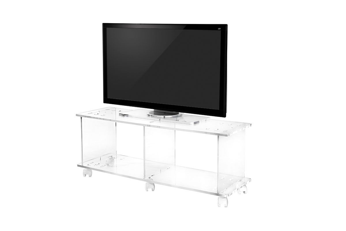 Meuble Tv Sur Roulettes Transparent Amenagement Interieur  # Meuble Tv Transparent