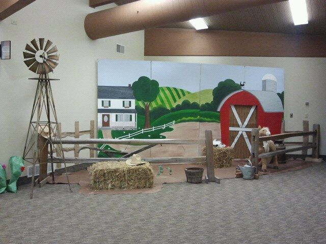 Our little farm scenea church member had this fabulous windmill - best of cph barnyard roundup