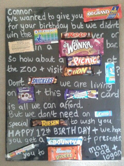 Candy Bar Birthday Card For My Son S 12th Birthday With Images