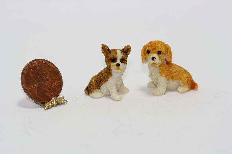 Set of Two Brown Tan and Cream Dogs or Puppies (Set 2) - Dollhouses and More