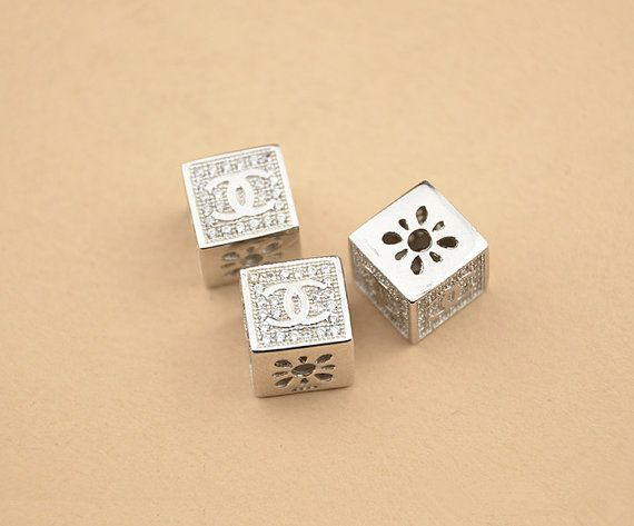 FREE SHIPPING 1pc 9mm 925 Sterling Silver Zircon Letter Cube Spacer Bead, 925 Silver Zircon Openwork Bead Spacer (S098S)