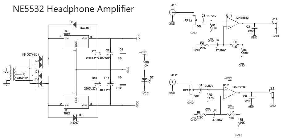 NE5532 OpAmp Based Headphone Amplifier | Circuit ... on