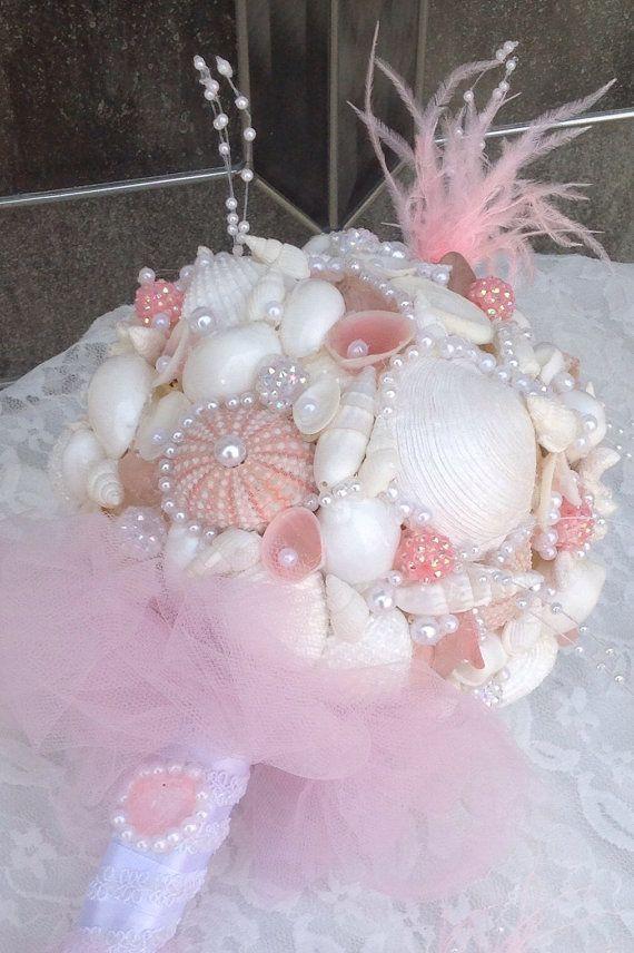 Pink Sea Shell Bouquet Seashell Bridal Bouquet by BeachBasketBride, $180.00