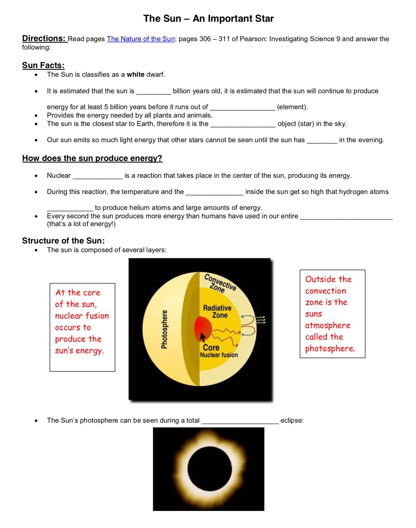 medium resolution of The Sun - An Important Star - Worksheet - Friday